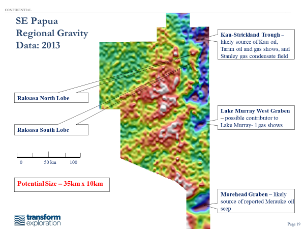 Regional Bouguer Gravity Map showing location of the Raksasa lead